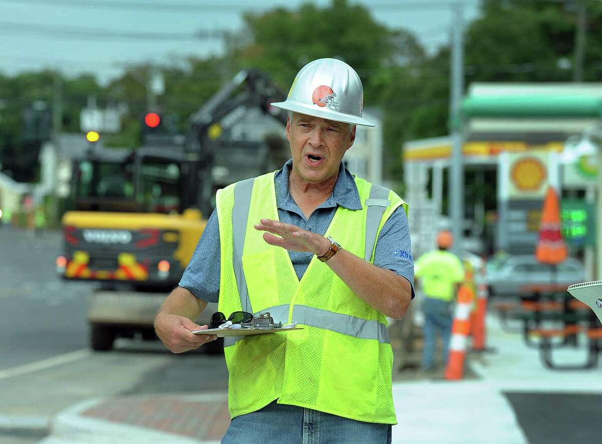 Greg Dembowski, project manager for the Brookfield Town Center, talks about the ongoing work, Thursday, Sept. 14, 2017.
