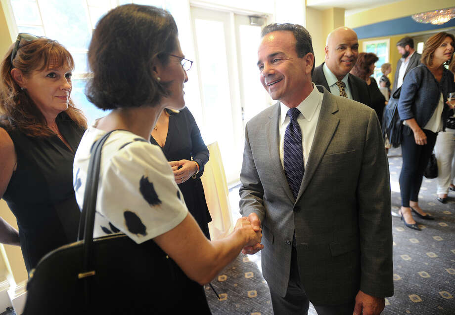 State Rep. Cristin McCarthy Vahey chats with Bridgeport Mayor Joe Ganim at the annual Speaking of Women fundraiser for The Center for Family Justice at The Waterview in Monroe, Conn. on Tuesday, September 19, 2017. Photo: Brian A. Pounds, Hearst Connecticut Media / Connecticut Post
