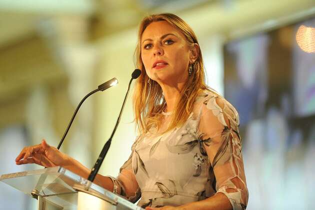 60 Minutes television correspondent and sexual assault survivor Lara Logan delivers the keynote address at the annual Speaking of Women fundraiser for The Center for Family Justice at The Waterview in Monroe, Conn. on Tuesday, September 19, 2017.