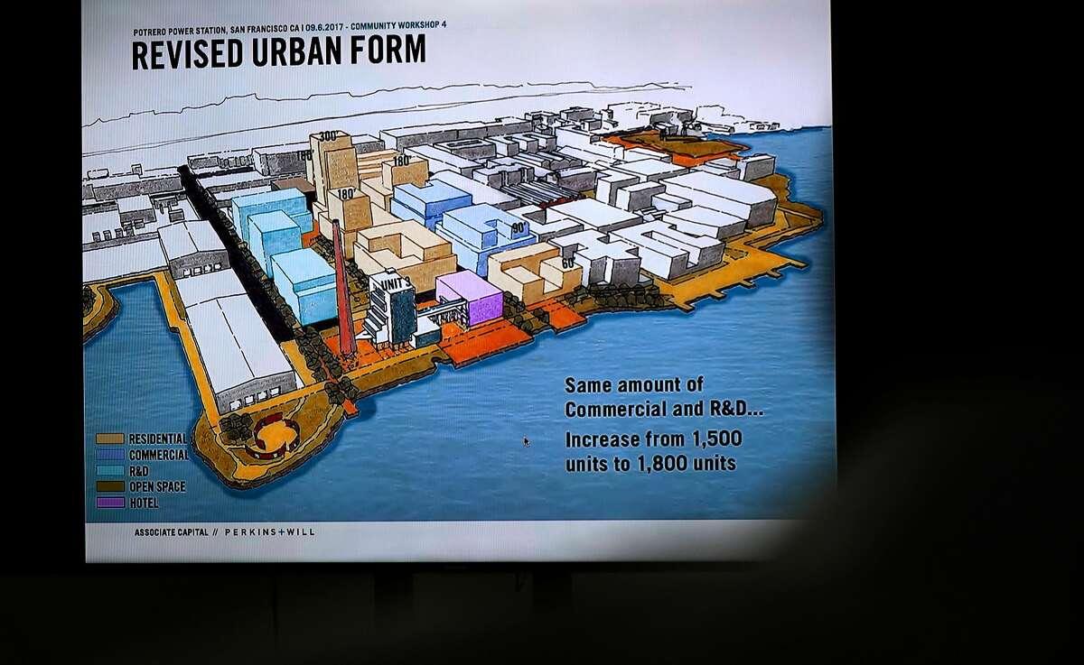 Enrique Landa, project sponsor, principal Associate Capital, displays the latest plans for the development of the Potrero Hill power plant.