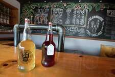 Bottles of cider on display at New England Cider Company. The Wallingford-based company's products are available at the Big E this year for the first time.