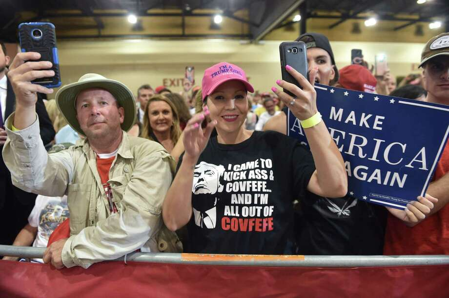 "Supporters cheer as President Donald Trump speaks at a ""Make America Great Again"" rally on Aug. 22 in Phoenix. News reporters did not depict Trump's speeches at this event accurately, says a reader, and none enumerated his many accomplishments. Photo: Nicholas Kamm /Getty Images / AFP or licensors"