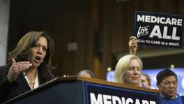 "Democratic presidential aspirants such as Sen. Kamala Harris of California, speaking here at a news conference regarding health care policy last week, correctly detect that Americans want legislators to tackle single-payer; that's why they are signing on to a ""Medicare for all"" bill by Sen. Bernie Sanders."