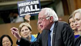 "Sen, Bernie Sanders, an independent from Vermont, speaks last week on his ""Medicare for all"" bill, to which many congressional Democrats thought to be vying for the presidency flocked. Democrats need to truthfully explain how we get to single payer. It involves painful choices."