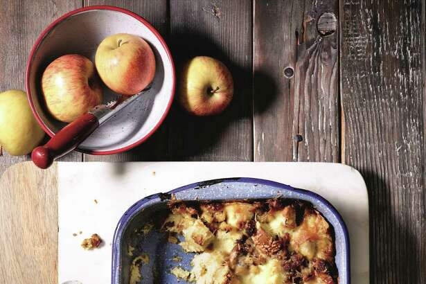 Apple, sausage and cheese strata.