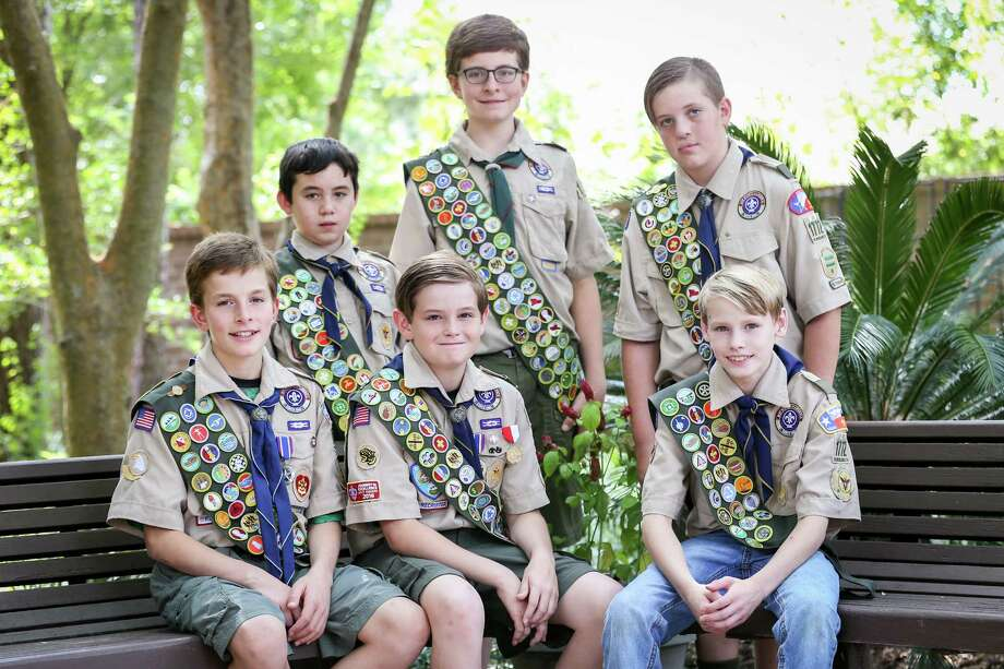 Boy Scouts, from the left: Jarrett Kotalik, Edward Poon, Rafe Kotalik, Noah Kotalik, Brock Romanski, Gage Maddox pose for a photo on Sunday, Sept. 17, 2017, at The Woodlands Community Presbyterian Church. Photo: Michael Minasi, Staff Photographer / © 2017 Houston Chronicle