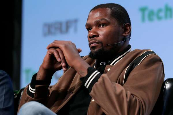 Golden State Warriors' star Kevin Durant, of Durant Company/Thirty Five Media on stage during TechCrunch Disrupt in San Francisco, Ca., on Tuesday September 19,  2017.