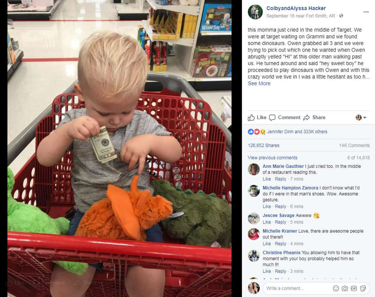 Alyssa Hacker shared a Facebook post about her son's interaction with an elderly man who'd recently lost his grandson, and touched hearts across the internet. >> See 50 things you should never say to kids. Photo: Alyssa Hacker Facebook
