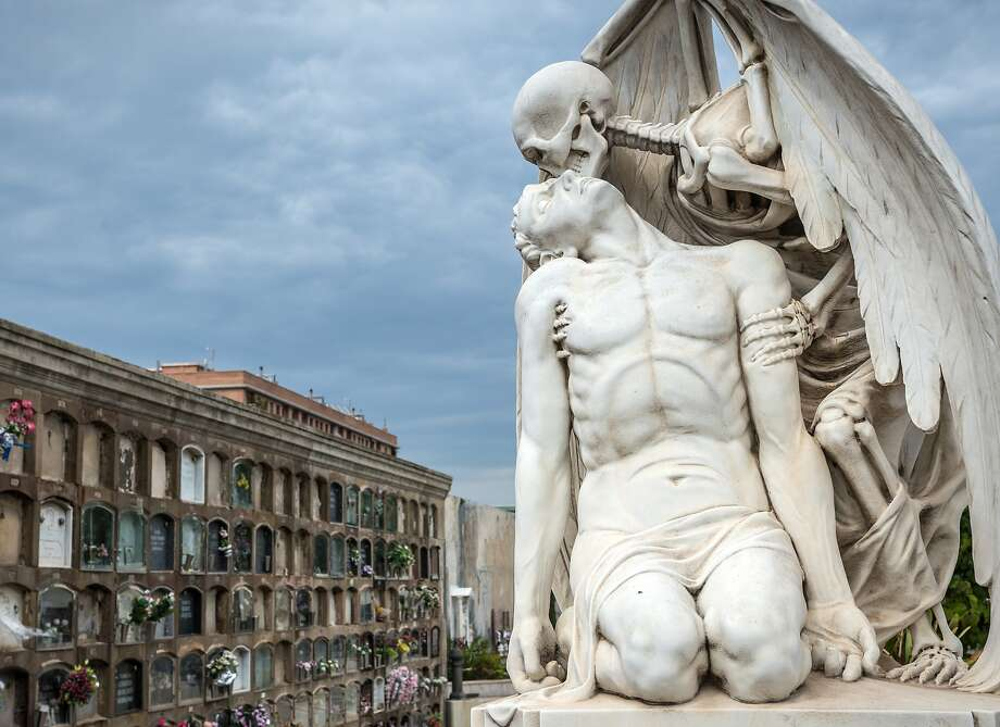 Barcelona's Cementiri de Poblenou, holds one of the world's most affecting grave monuments: The Kiss of Death. Photo: Fotokon, Shutterstock
