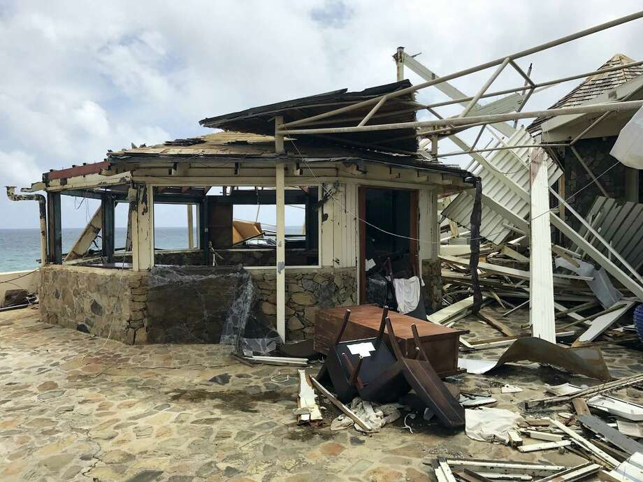 This Sept. 14, 2017 photo provided by Guillermo Houwer on Saturday, Sept. 16, shows storm damage to the Biras Creek Resort in the aftermath of Hurricane Irma on Virgin Gorda in the British Virgin Islands. (Guillermo Houwer via AP) Photo: AP / Guillermo Houwer