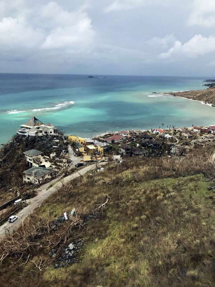 This Sept. 14, 2017 photo provided by Guillermo Houwer on Saturday, Sept. 16, shows storm damage to Maho Bay in the aftermath of Hurricane Irma on Virgin Gorda, in the British Virgin Islands. (Guillermo Houwer via AP) Photo: AP / Guillermo Houwer
