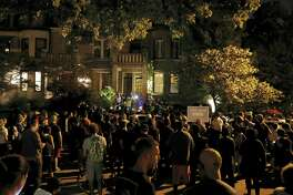 Protesters gather in front of the home of St. Louis Mayor Lyda Krewson, Friday, Sept. 15, 2017, in St. Louis, after a judge found a white former St. Louis police officer, Jason Stockley, not guilty of first-degree murder in the death of a black man, Anthony Lamar Smith, who was fatally shot following a high-speed chase in 2011.