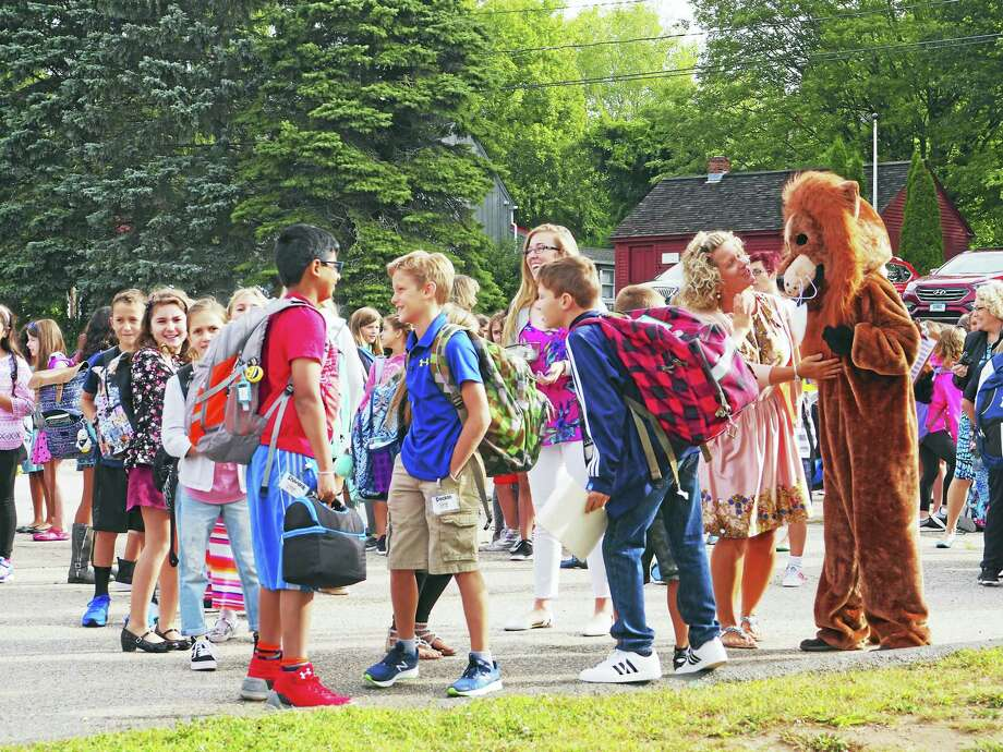 Children gathered excitedly for the first day of classes at Center School in East Hampton Wednesday morning. Photo: Irene Kuck Photo