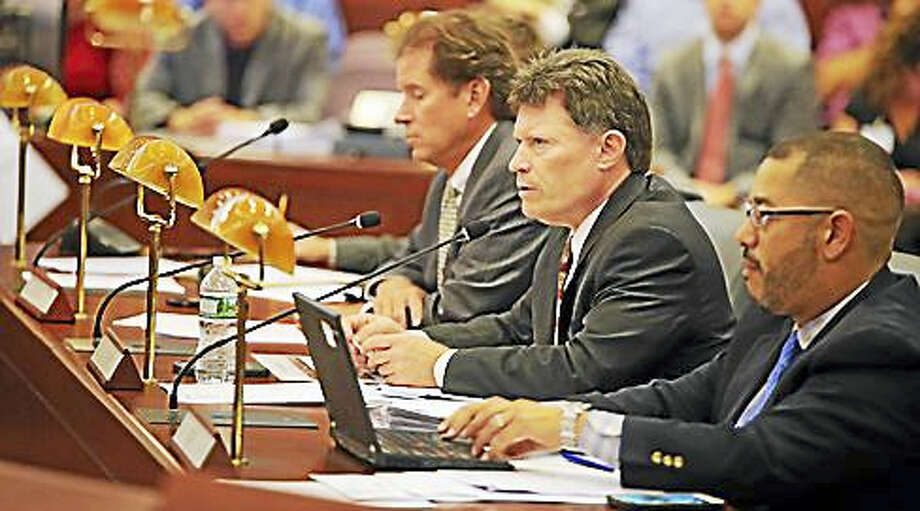 Sen. John Fonfara, Sen. L. Scott Frantz, and Rep. Jason Rojas chair the Finance, Revenue and Bonding Committee Thursday. Photo: Christine Stuart / CTNewsJunkie