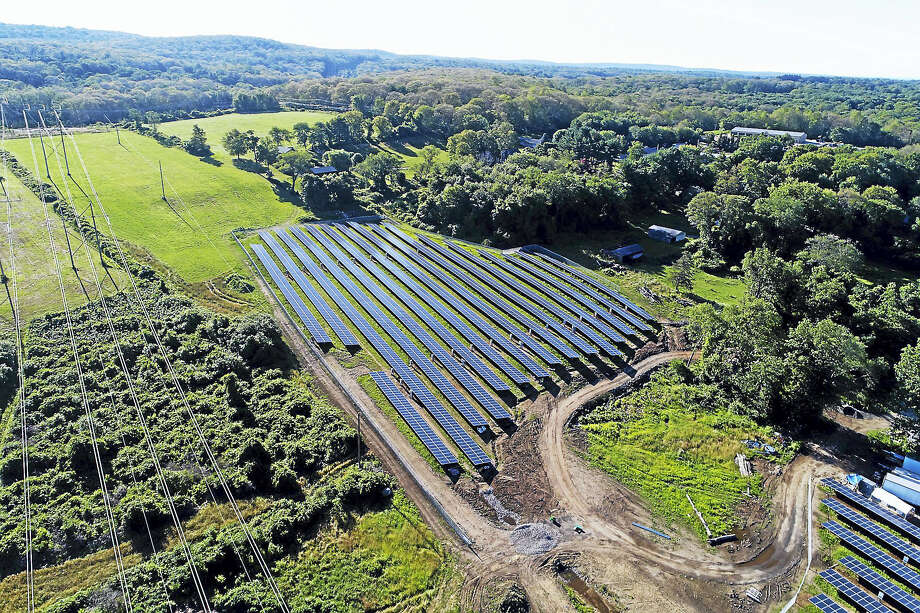 The Shagbark Lumber and Farm Supplies solar farm in East Haddam consists of 4,554 ground-mounted, 335-watt photovoltaic solar panels and covers nearly 6 acres. Photo: Contributed Photo