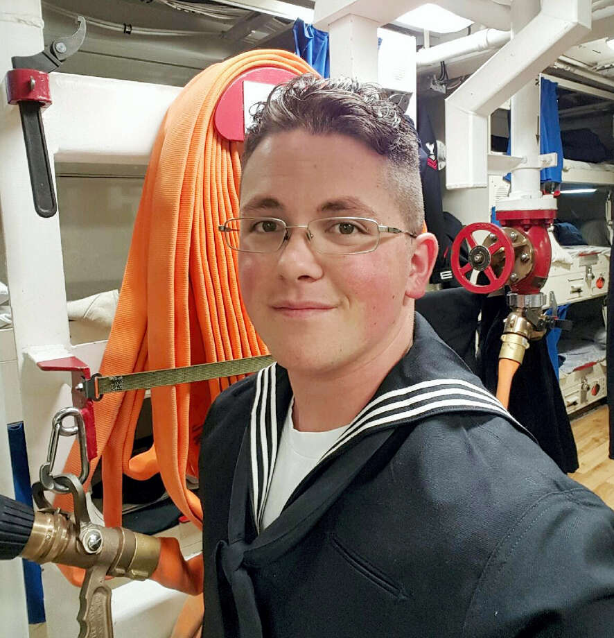 This undated photo provided by Cynthia Kimball shows her son, John Hoagland, aboard the USS John McCain. Kimball said Wednesday, Aug. 23, 2017, the Navy told her that her son is among the missing seamen who were aboard the USS John McCain when it collided with an oil tanker near Singapore Monday, Aug. 21. Photo: Cynthia Kimball Via AP   / Cynthia Kimball