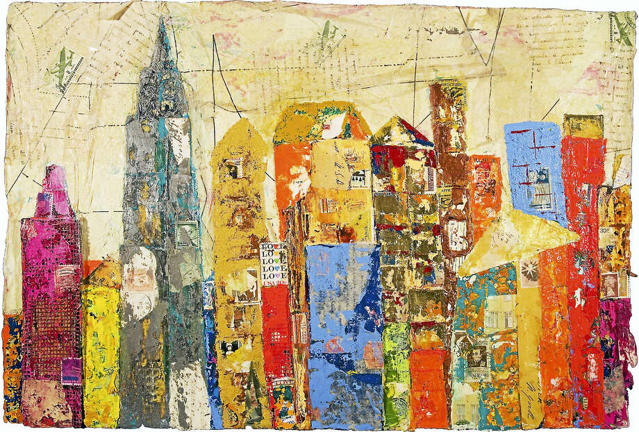 """Gotham Cityscape,"" by Regina Thomas, a mixed media collage with papers. Mixed media art classes are offered at Spectrum Gallery and Store for children and adults. Photo: Contributed Photo  / Copyright - Regina M. Thomas"