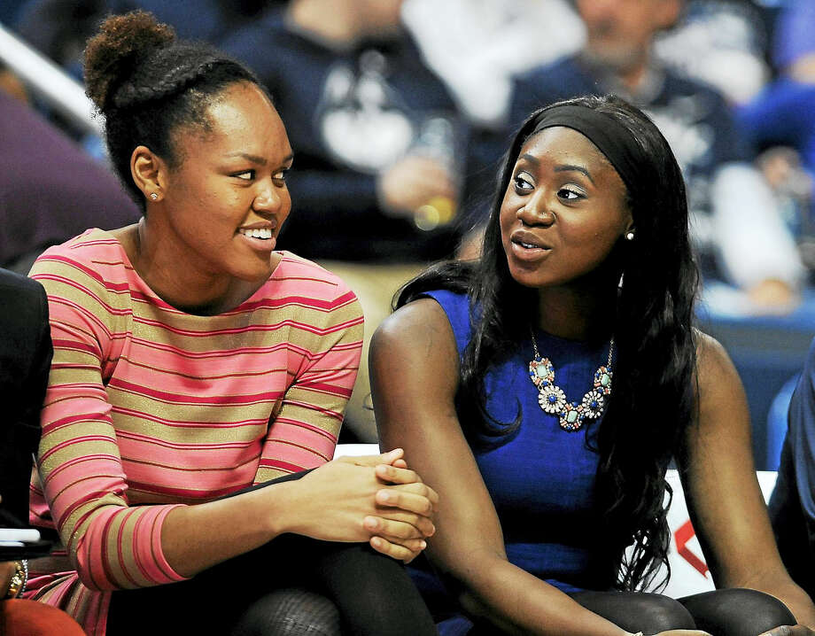 UConn transfers Azura Stevens, left, and Batouly Camara will get a chance to suit up for the Huskies this season. Photo: Jessica Hill — The Associated Press File Photo  / AP2016