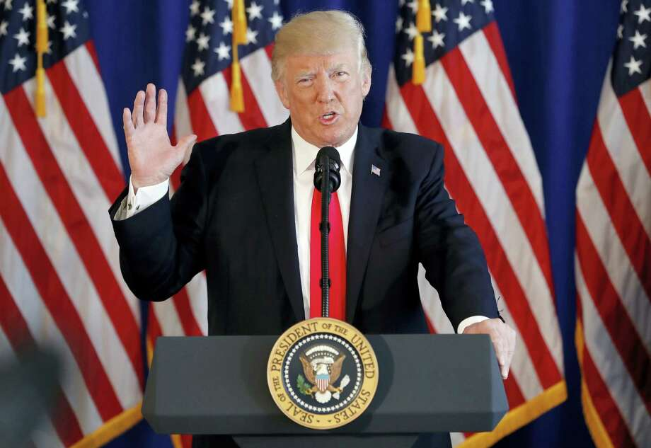 President Donald Trump speaks about the ongoing situation in Charlottesville, Va., at Trump National Golf Club, Saturday, Aug. 12, 2017, in Bedminster, N.J. Photo: Pablo Martinez Monsivais / AP Photo  / Copyright 2017 The Associated Press. All rights reserved.