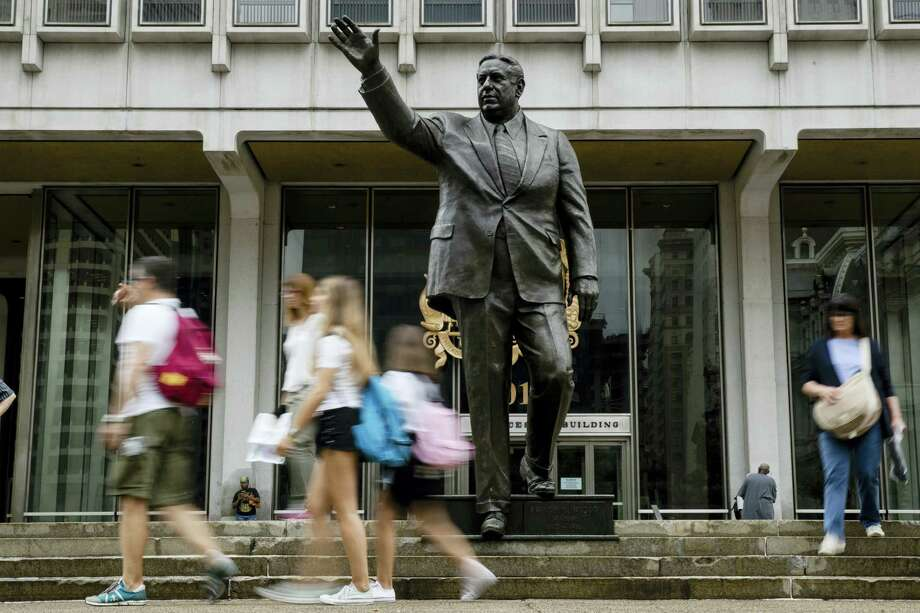Shown is a statue of the late Philadelphia Mayor Frank Rizzo, who also served as the city's police commissioner, outside the Municipal Services Building in Philadelphia, Tuesday, Aug. 15, 2017. Photo: AP Photo/Matt Rourke   / Copyright 2017 The Associated Press. All rights reserved.