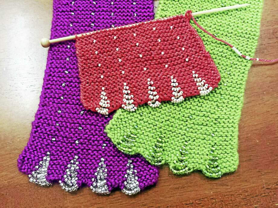 Learn to knit this pretty beaded, scalloped scarf during a free class at In Sheep's Clothing on Water Street, Torrington. Photo: Photo By Ginger Balch