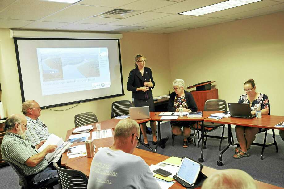 Lori Mathieu, Public Health Section Chief of the Department of Public Health, presenting the draft Connecticut State Water Plan to the Northwest Hills Council of Governments Thursday. Photo: Ben Lambert / Hearst Connecticut Media