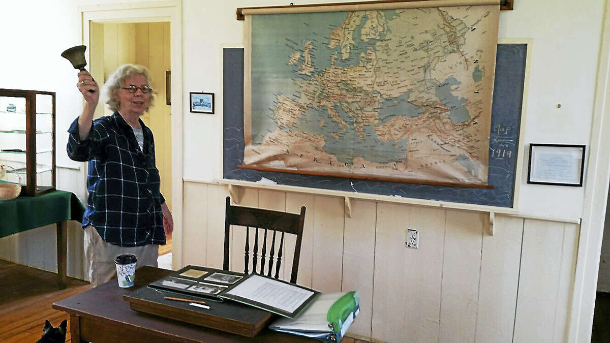 Lillian Lovett leads tours of the Beebe Hill Schoolhouse on Saturdays.