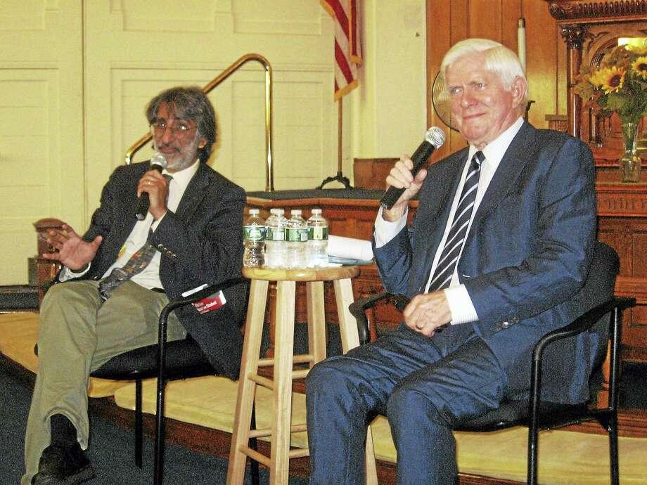 John Torsiello / Hearst Connecticut Media Yale Professor Akhil Reed Amar, left, and Phil Donahue. Photo: Digital First Media
