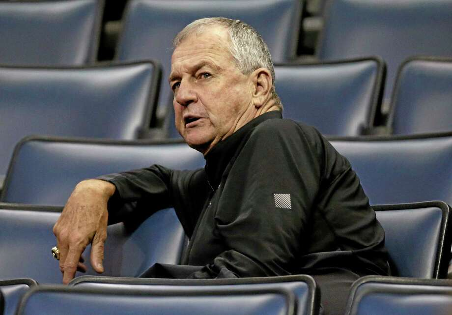 Former UConn coach Jim Calhoun looks on during a game between South Florida and Rutgers in 2014. Photo: The Associated Press File Photo  / AP