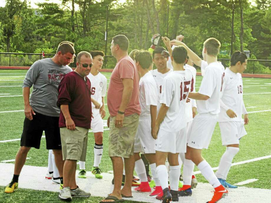 Torrington's Red Raiders ruled Derby from the start of its boys soccer win Wednesday evening at the Robert H. Frost Sports Complex. Photo: Peter Wallace — For The Register Citizen