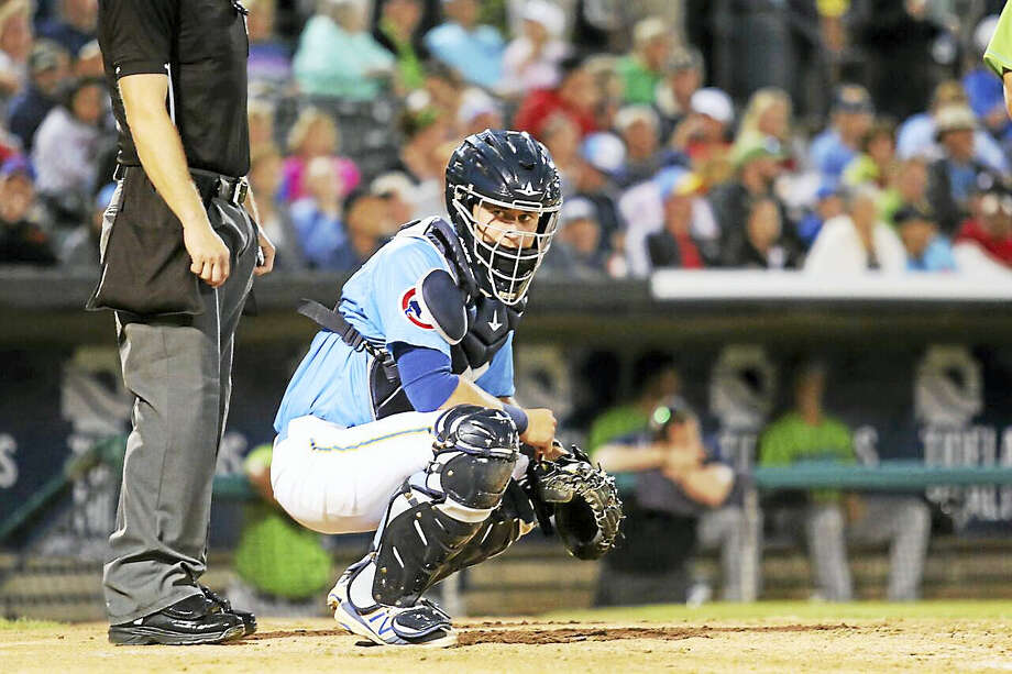 Former Lyman Hall standout P.J. Higgins has made successful transition to catcher in Cubs' organization. Photo: Larry Kave/Myrtle Beach Pelicans