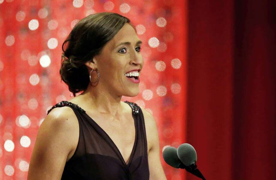 Rebecca Lobo speaks during her enshrinement into the Naismith Memorial Basketball Hall of Fame on Friday. Photo: Stephan Savoia — The Associated Press  / Copyright 2017 The Associated Press. All rights reserved.
