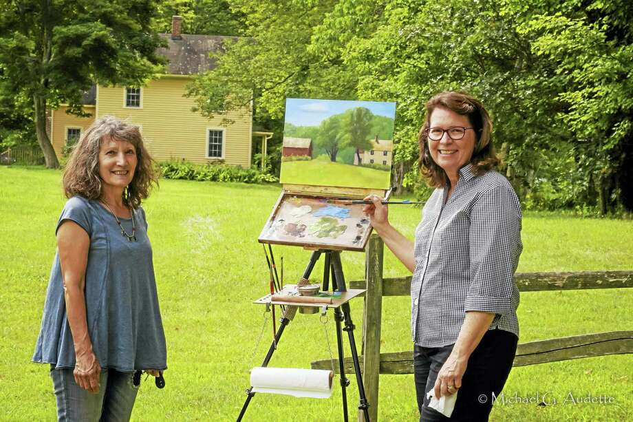 Melody Asbury and Ellie Boyd, plein air painters, will participate in Flanders Nature Center's plein air painting event on Saturday. Photo: Contributed Photo