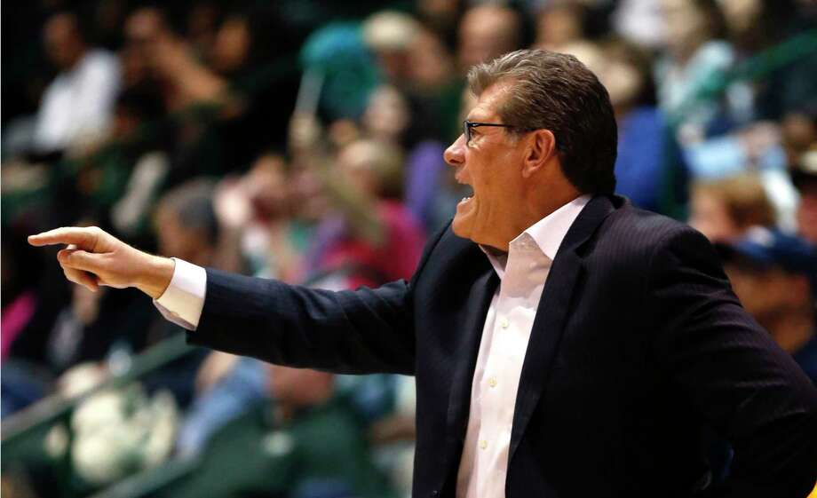 Connecticut head coach Geno Auriemma calls out from the bench in the second half of an NCAA college basketball game against Tulane in New Orleans, Wednesday, Feb. 3, 2016. Connecticut won 96-38. (AP Photo/Gerald Herbert) Photo: AP / AP
