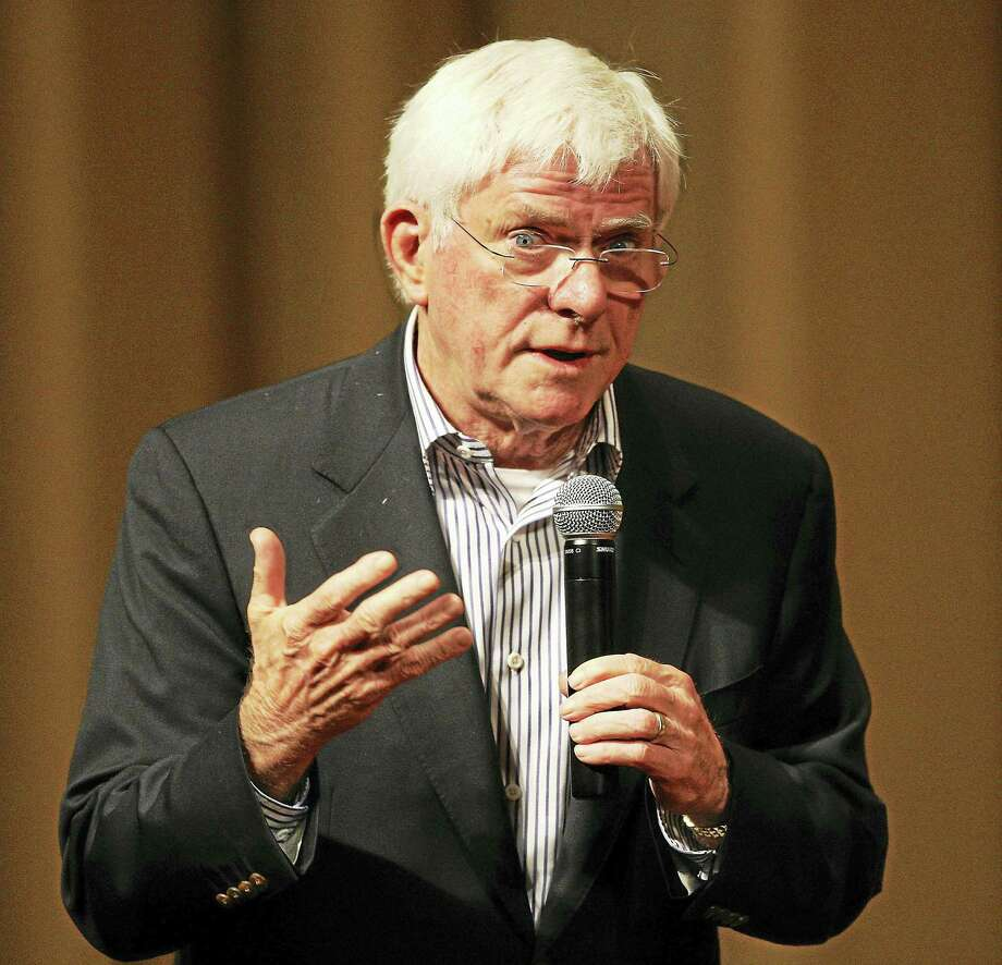 "Phil Donahue, former talk show host, author and producer of the film ""Body of War"" speaks during a question and answer session at the Linwood Dunn Theater in 2009 in Hollywood, California. Donahue is the special guest of the American Museum of Tort Law in Winsted on Sunday. Photo: Photo By Frederick M. Brown/Getty Images  / 2009 Getty Images"