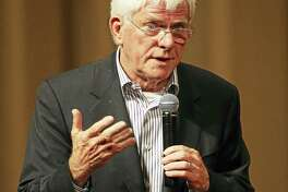 """Phil Donahue, former talk show host, author and producer of the film """"Body of War"""" speaks during a question and answer session at the Linwood Dunn Theater in 2009 in Hollywood, California. Donahue is the special guest of the American Museum of Tort Law in Winsted on Sunday."""