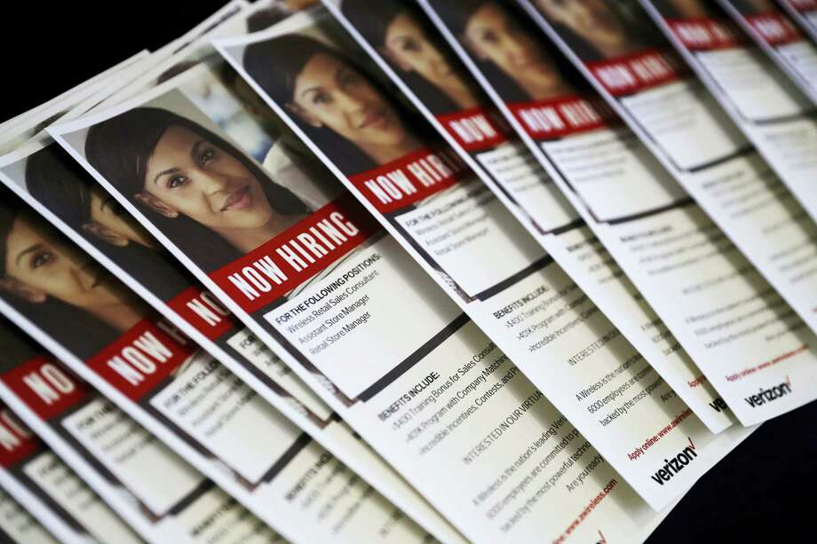 In this Thursday, Aug. 24, 2017, photo, flyers advertise jobs for Verizon during a job fair in San Jose, Calif. On Thursday, Sept. 7, 2017, the Labor Department reports on the number of people who applied for unemployment benefits a week earlier. Photo: AP Photo/Marcio Jose Sanchez   / Copyright 2017 The Associated Press. All rights reserved.