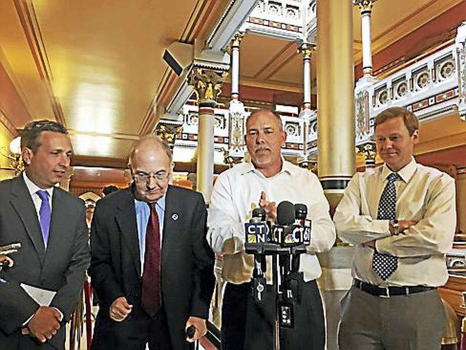 From left: Senate Majority Leader Bob Duff, Senate President Martin Looney, House Speaker Joe Aresimowicz, and House Majority Leader Matt Ritter. Photo: Christine Stuart / CTNewsJunkie