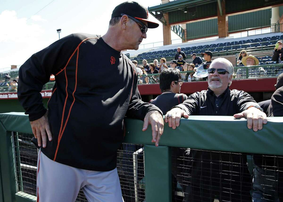 San Francisco Giants' Manager Bruce Bochy and General Manager Brian Sabean during Spring Training in Scottsdale, Arizona, on Tuesday, February 24, 2015.