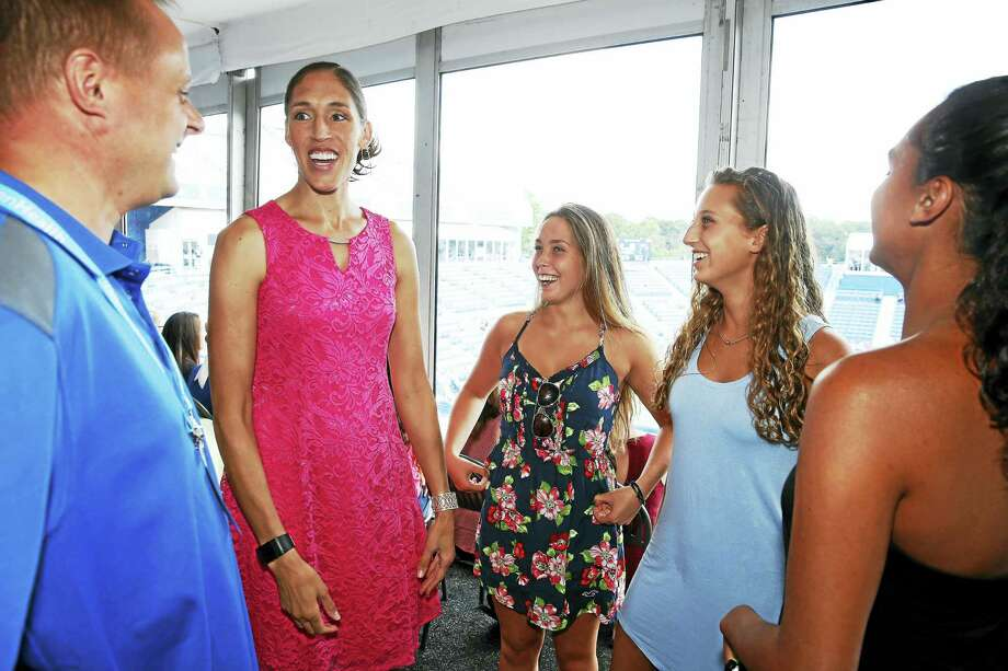 Rebecca Lobo speaks to high school student-athletes during the Anthem Symposium inside of the Courtside Club on Thursday. Photo: Jared Wickerham/Connecticut Open  / ?2017 Jared Wickerham/Connecticut Open