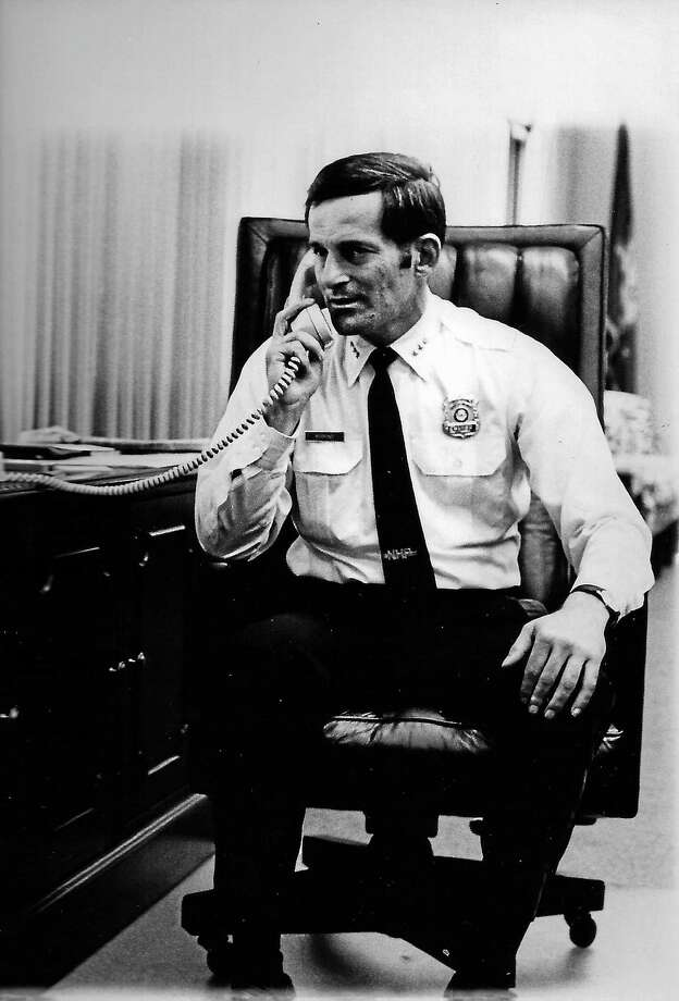 Then-New Haven Police Chief Edward U. Morrone, the city's police chief from 1977 to 1981, at this desk in this undated photo.  Contributed. Photo: Digital First Media