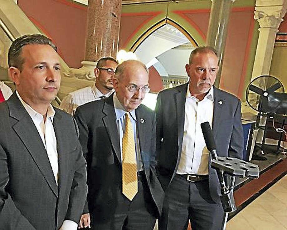 Sens. Bob Duff and Martin Looney and House Speaker Joe Aresimowicz. Photo: Christine Stuart / CTNewsJunkie