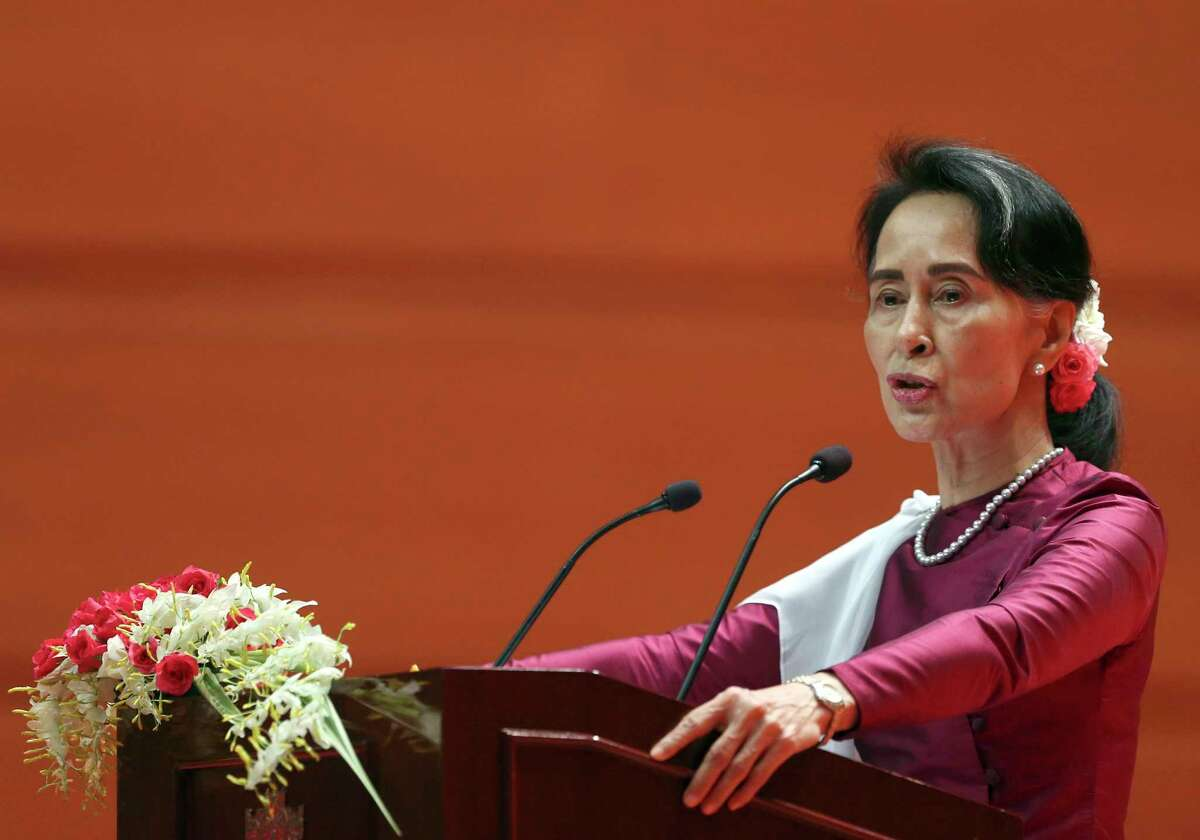 Myanmar's State Counsellor Aung San Suu Kyi delivers a televised speech to the nation denying that the government's actions are justified.