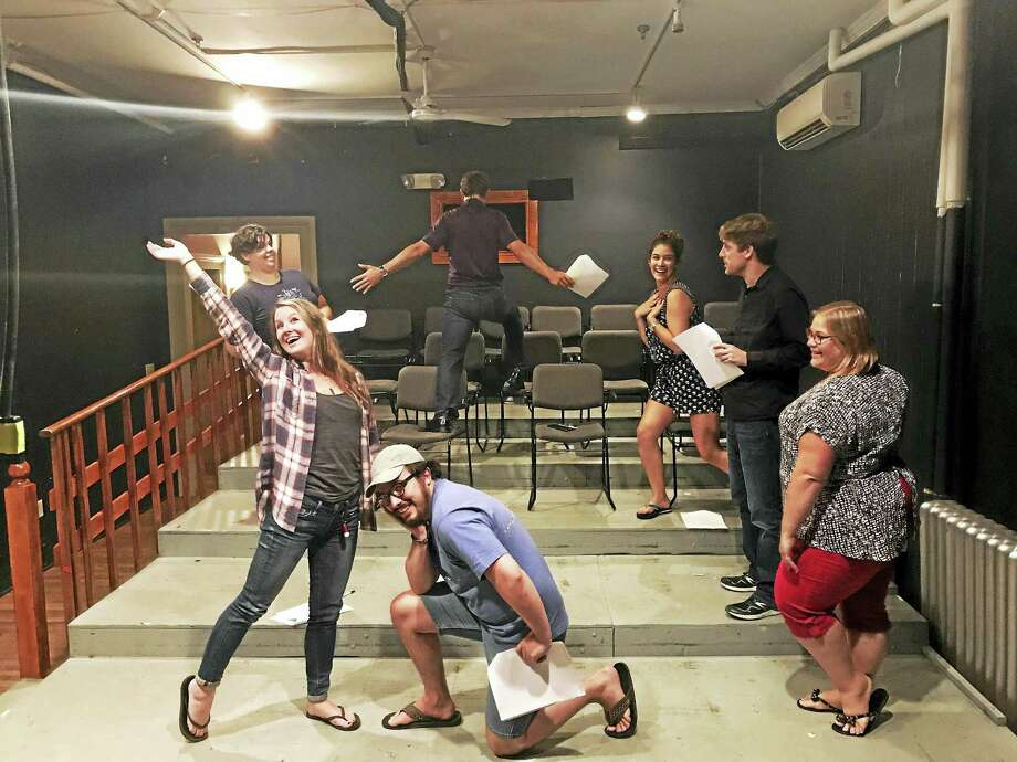 """Members of the Backyard Theater Ensemble, from left,  Dina Addorisio,Tina Parziale,  Daniel Dressel, Chet Ostroski, Jenny Dressel,, Ryan Wantroba and Abby Lund, rehearse for their portion of """"Secret Shakespeare: A Midsummer Night's Dream"""" this weekend in Winsted. Photo: Contributed Photo"""