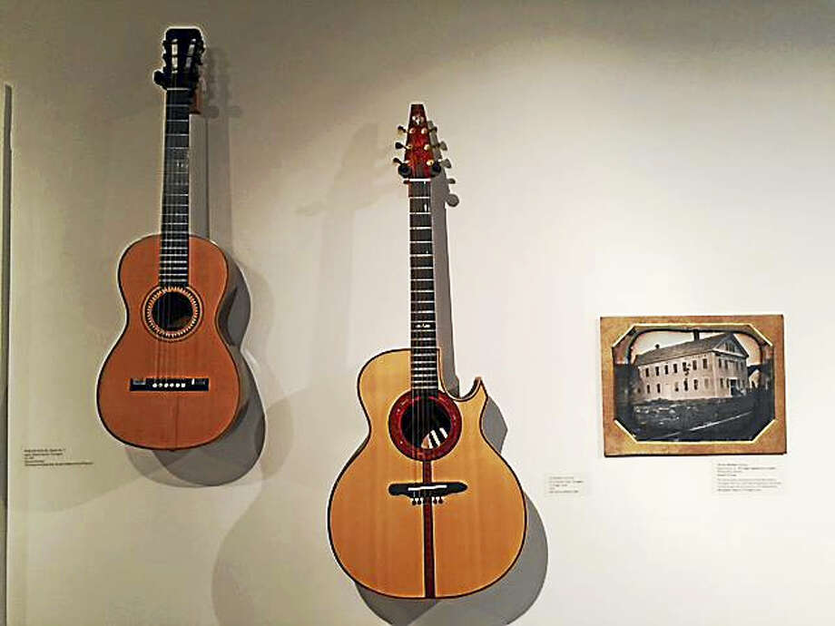 """James Ashborn guitar 1857 and Kevin Michael Clark guitar 2012 with daguerreotype of Dayton organ factory are included in the Torrington Historical Society's new exhibit, """"New Acquisitions: Collecting for Our Community."""" Photo: Contributed Photo"""