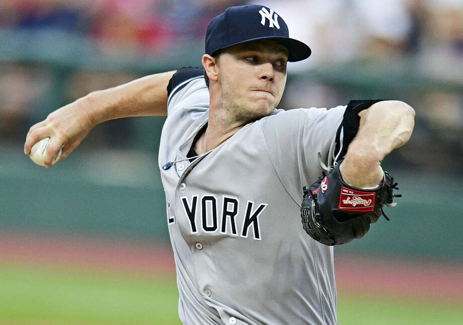 new York Yankees starting pitcher Sonny Gray delivers in the first inning against the Cleveland Indians Thursday in Cleveland. Gray lost his Yankees' debut 5-1. Photo: DAVID DEMER — THE ASSOCIATED PRESS  / AP 2017