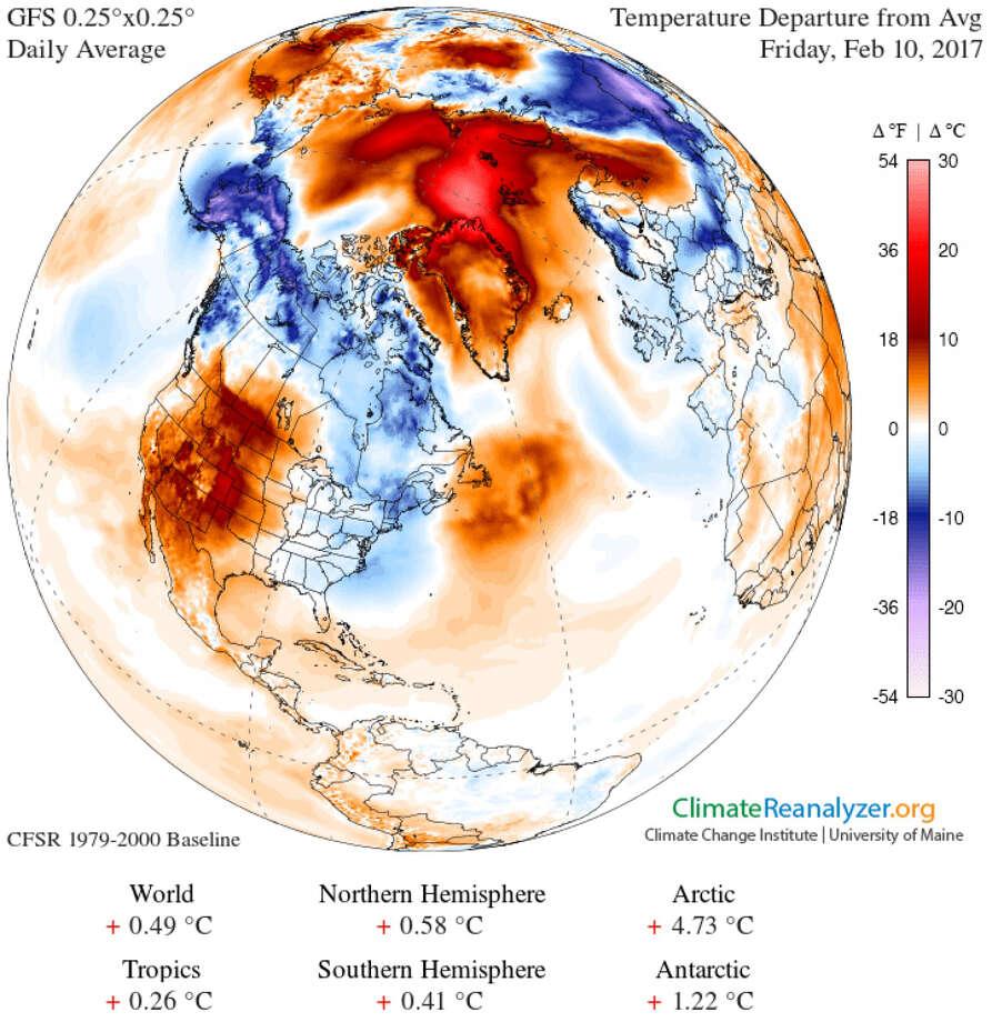 Image obtained using Climate Reanalyzer, Climate Change Institute, University of Maine, USA. Photo: Handout Courtesy Of University Of Maine  / The Washington Post