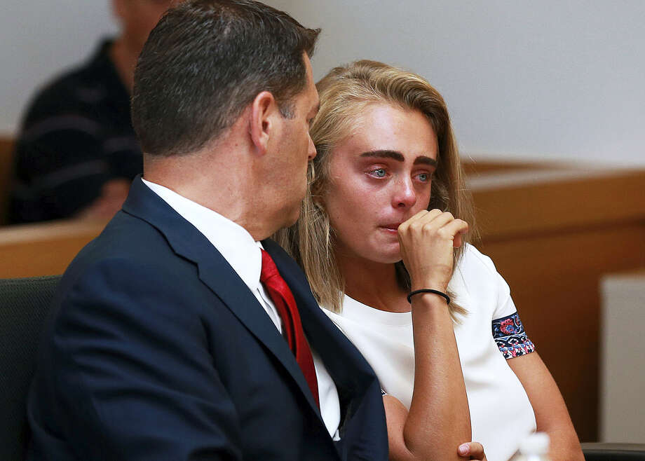 Michelle Carter awaits her sentencing in a courtroom in Taunton, Mass., Thursday, Aug. 3, 2017, for involuntary manslaughter for encouraging Conrad Roy III to kill himself in July 2014. Carter was sentenced Thursday to 15 months in jail for involuntary manslaughter. Photo: Matt West/The Boston Herald Via AP, Pool  / Matt West