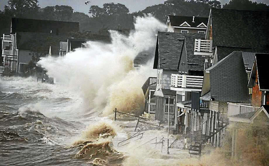 Bay View Beach, Milford, during Hurricane Irene in 2011. Photo: Dominic Figuei Via Connecticut Post