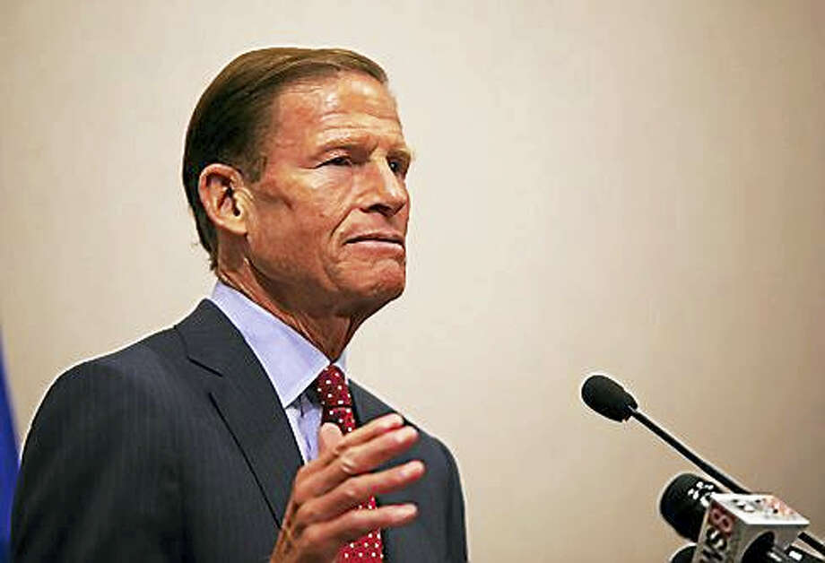U.S. Sen. Richard Blumenthal discusses Charlottesville during a news conference Wednesday at the Legislative Office Building in Hartford. Photo: Christine Stuart / Ctnewsjunkie
